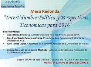 Mesa redonda en Caja Rural del Sur sobre 'Incertidumbre política y perspectivas económicas 2016'