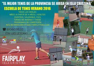 Abierto el Plazo de Inscripciones para la Escuela de Tenis Verano 2016