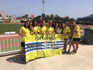Eva Cárdenas, Oro, Ricardo Orta y el equipo femenino de relevos Subcampeones de Andalucía Cadete