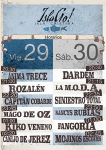 Horarios del festival IslaGo! de Isla Cristina