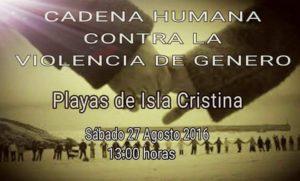 Una cadena humana de tres kilómetros contra la violencia de género este sábado en las playas de Isla Cristina