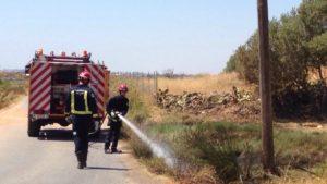 Extinguen un incendio en la vía verde junto al Paraje Natural Marismas de Isla Cristina
