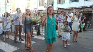 Ofrenda de flores de la Hermandad del Rocío de Isla Cristina a la Virgen del Mar