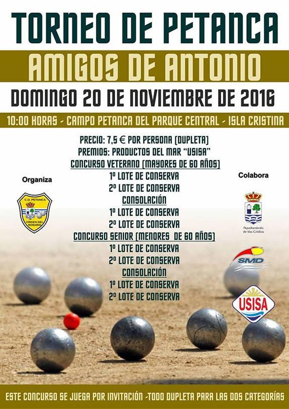 """Isla Cristina acoge este domingo el Torneo de Petanca """"Amigos de Antonio""""."""