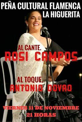 """Viernes flamenco con Rosi Campos en la Peña Flamenca """"La Higuerita"""" de Isla Cristina"""