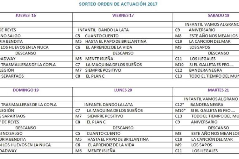 Orden fase preliminar de agrupaciones Concurso de Carnaval de Isla Cristina 2017