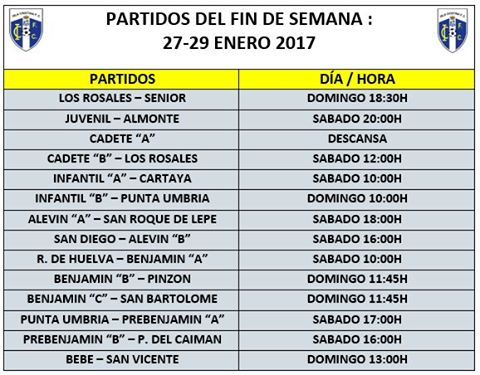 Encuentros y Horarios Futboleros Fin de Semana Isla Cristina F.C.