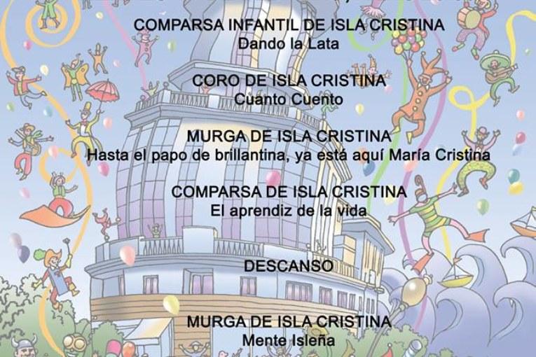 Orden de actuación viernes 17 preliminares concurso Carnaval de Isla Cristina
