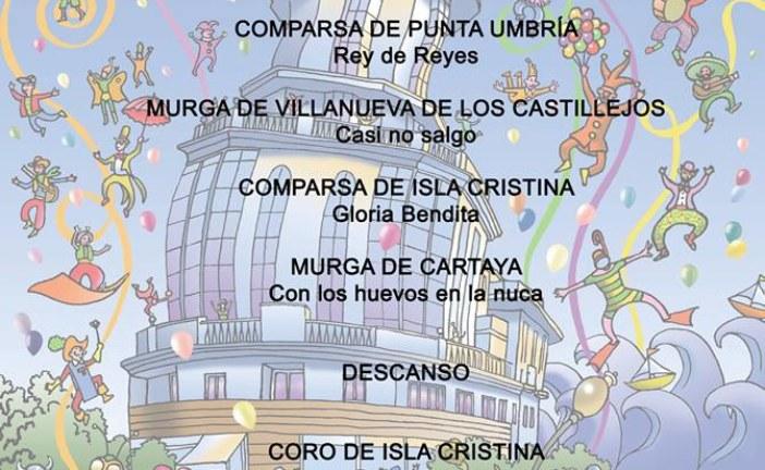 Orden de actuación jueves 16 preliminares concurso de agrupaciones carnaval de Isla Cristina