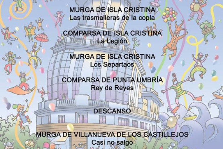 Orden de actuación ´Domingo 19 preliminares concurso Carnaval de Isla Cristina