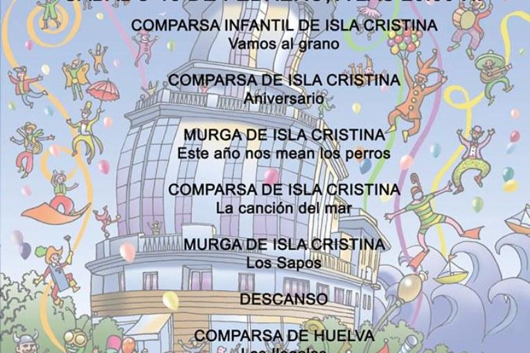 Orden de actuación ´sábado 18 preliminares concurso Carnaval de Isla Cristina
