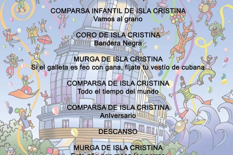 "Orden de actuación ´Martes 21"" Preliminares Concurso Carnaval de Isla Cristina"