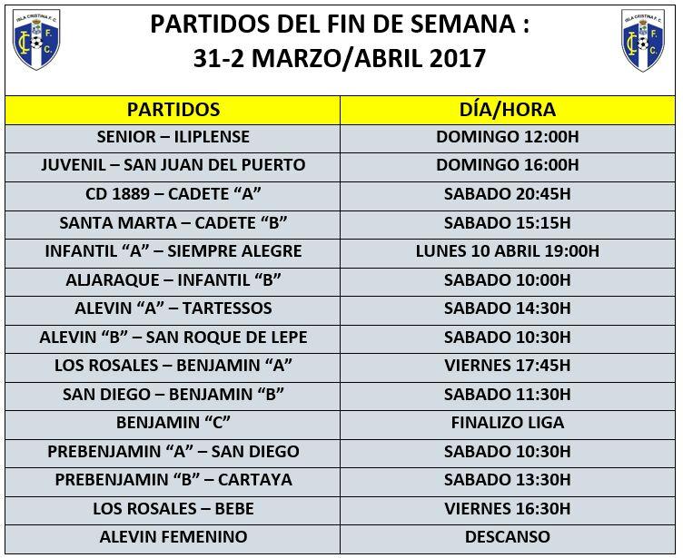 Partidos y horarios fin de semana Isla Cristina F.C
