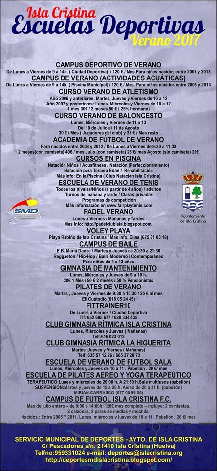 Escuelas Deportivas – Verano 2017 – Isla Cristina