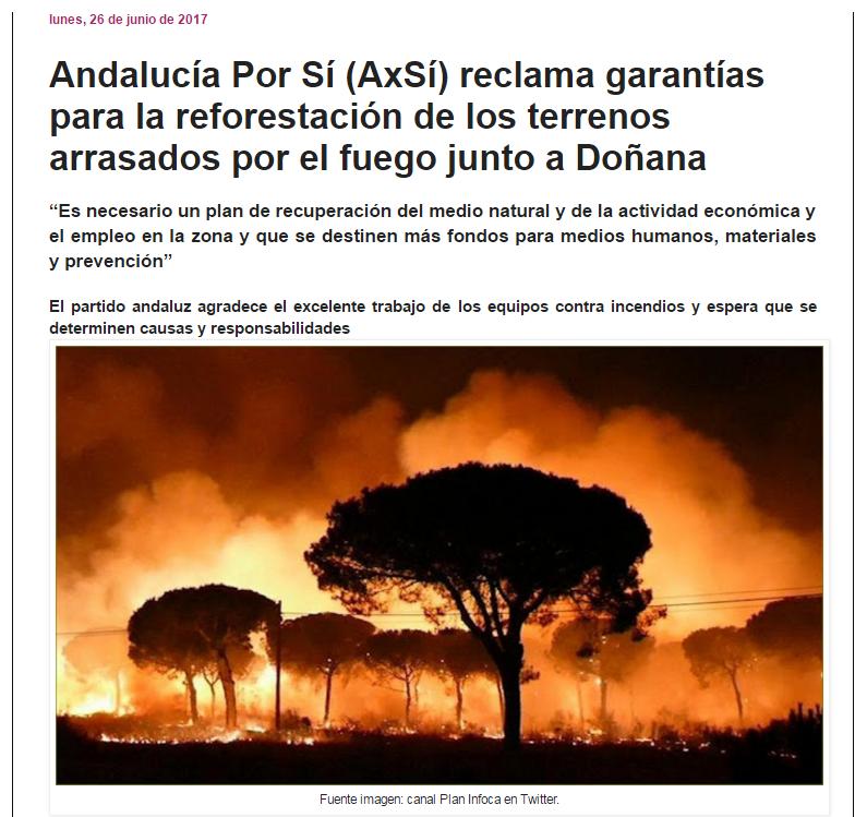 Andalucía Por Sí (AxSí) reclama garantías para la reforestación de los terrenos arrasados por el fuego
