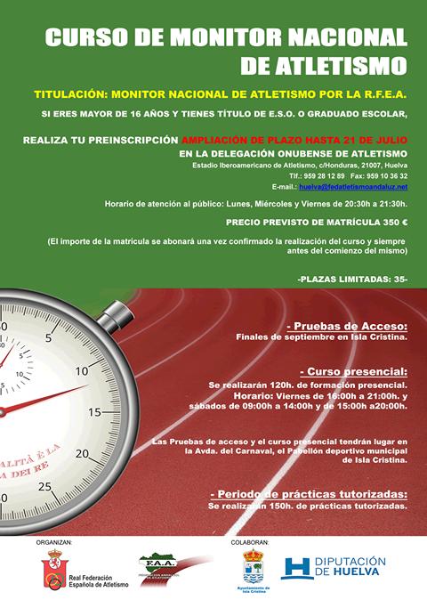 Este viernes finalizan las inscripciones para el Curso de Monitor Nacional de Atletismo a celebrar en Isla Cristina