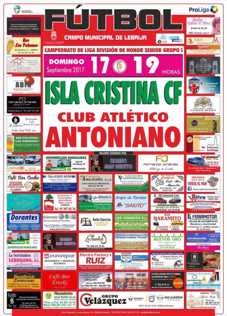El Isla Cristina busca seguir imbatido ante el Antoniano