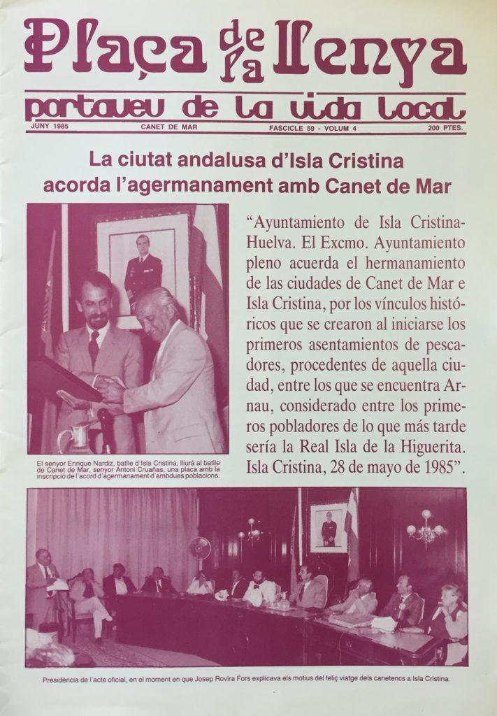 El Hermanamiento con  Canet de Mar. Documento Histórico del mes de Septiembre 2017 del Ayuntamiento de Isla Cristina