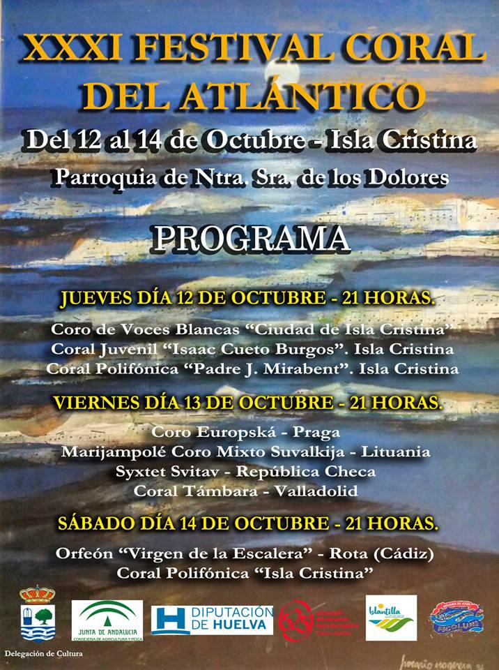 Isla Cristina acoge del 12 al 14 de octubre el XXXI Festival Coral del Atlántico