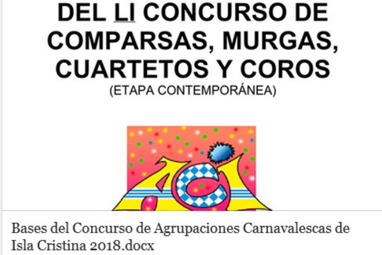 Bases del Concurso de agrupaciones carnavalescas de Isla Cristina 2018