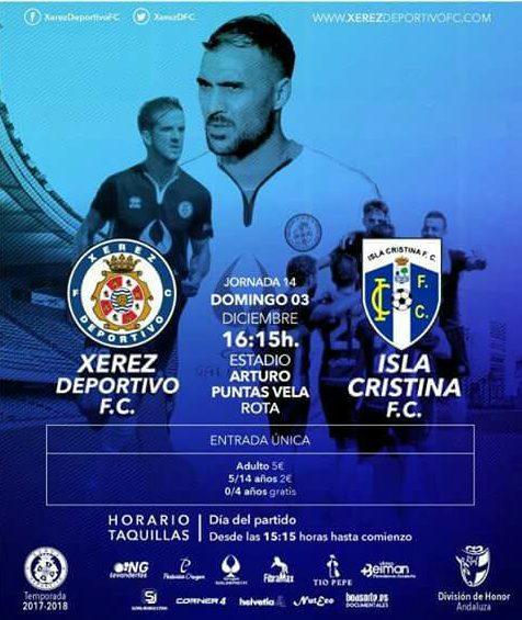 El Xerez Deportivo vs Isla Cristina FC, se jugará en el Arturo Puntas Vela de Rota