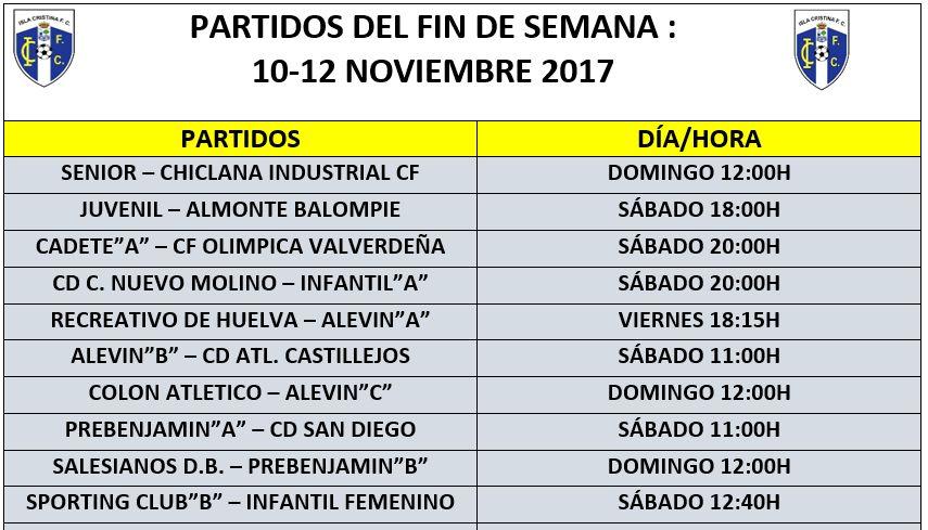 Agenda de los Partidos del Fin de Semana Isla Cristina FC