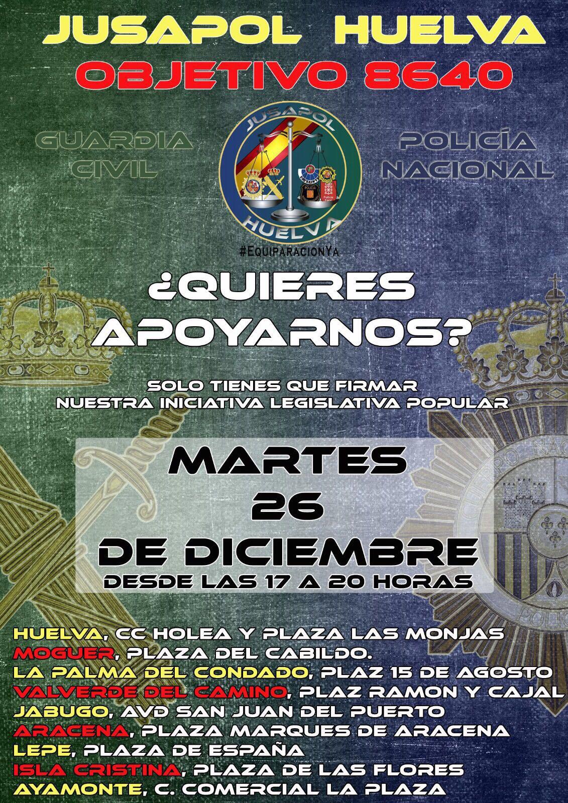 Recogida de firmas en Isla Cristina por la equiparación salarial de la guardia civil y policía nacional