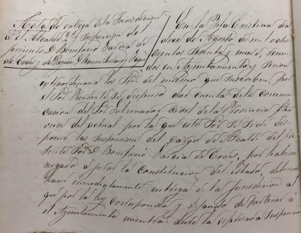 El Archivo Histórico de Isla Cristina expone como 'Documento del mes' nuestra Constitución y expulsados de la corporación municipal