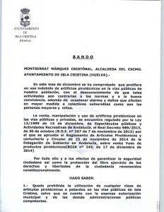 El Ayuntamiento de Isla Cristina sancionará con hasta 10.400 euros a quienes tiren petardos en Navidad