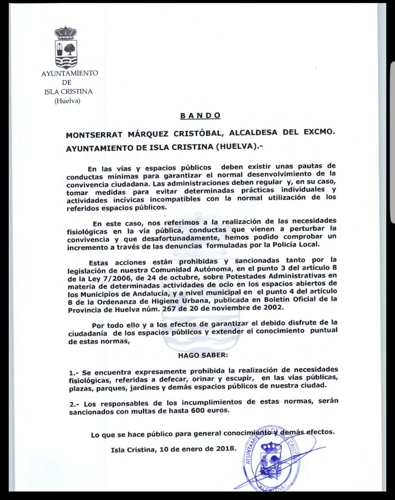El Ayuntamiento de Isla Cristina anuncia sanciones de 600 euros por defecar, orinar o escupir en la vía pública
