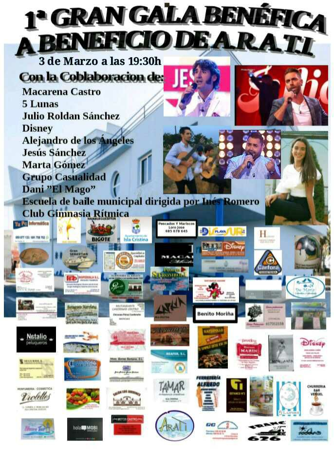 "Isla Cristina acoge el tres de marzo la ""I Gran Gala Benéfica a Beneficio de Arati"""