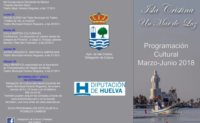 Programación Cultural de Isla Cristina para los meses de Marzo, Abril, Mayo y Junio