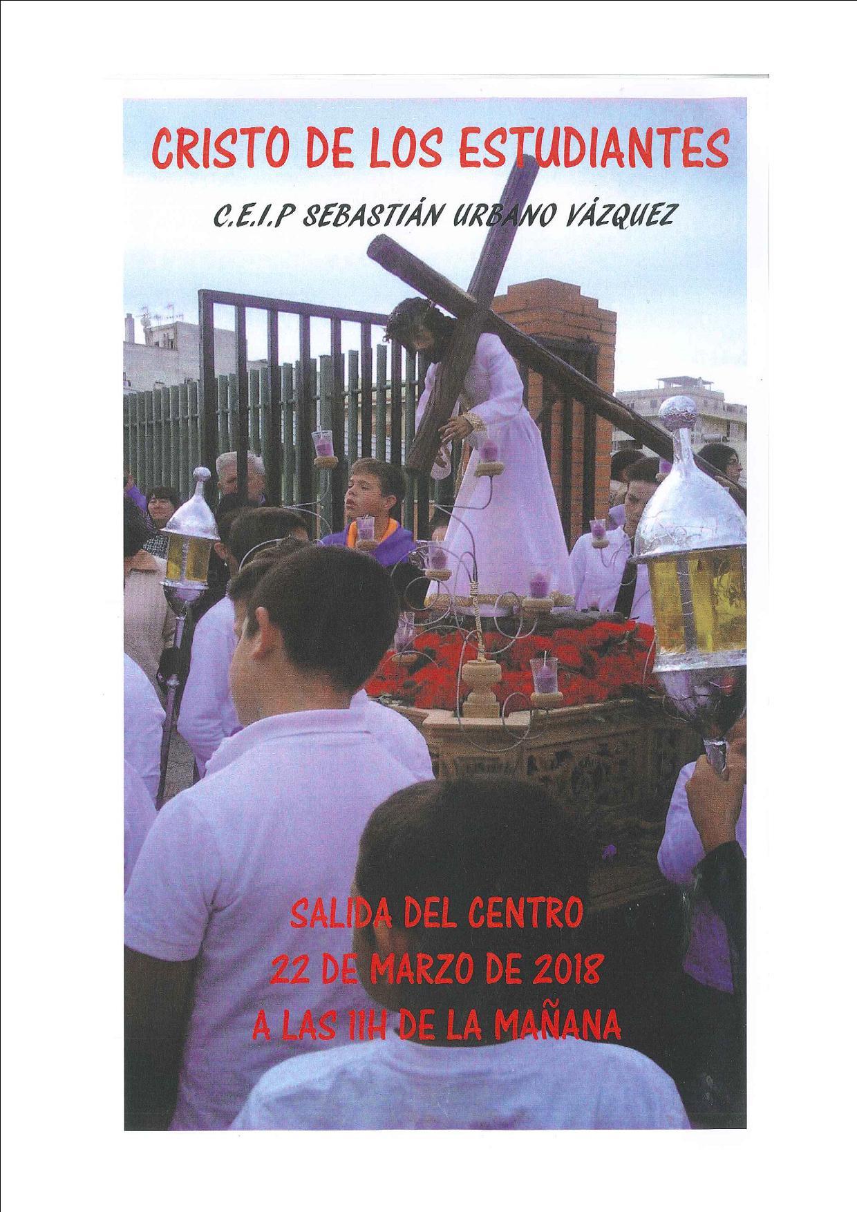 """Este Jueves se celebra la Procesión del """"Cristo de los Estudiantes"""" del Sebastián Urbano Vázquez"""