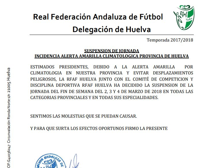 Suspendida la jornada de fútbol en todas sus categorías