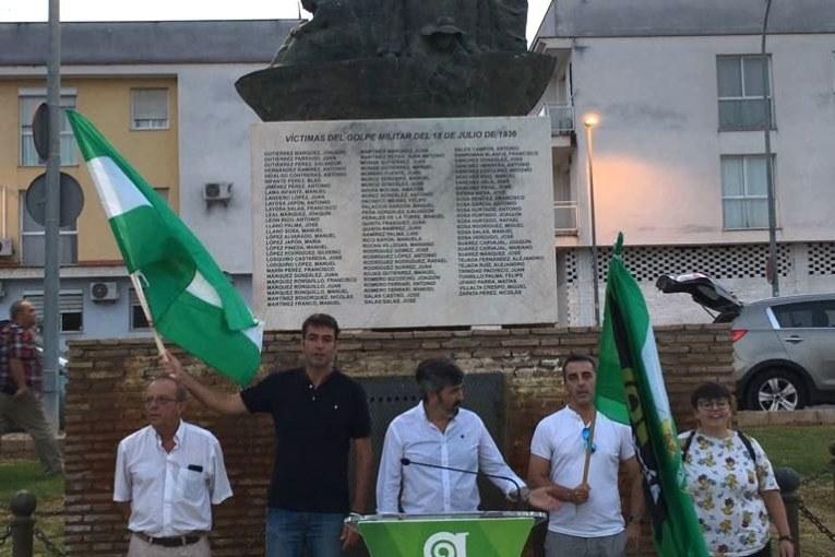 AxSí rescata junto al Monumento de la Memoria Histórica en Coria del Río la fecha de la detención y secuestro de Blas Infante