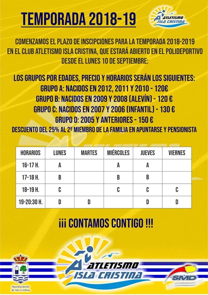 Se abren las inscripciones para el Club Atletismo Isla Cristina