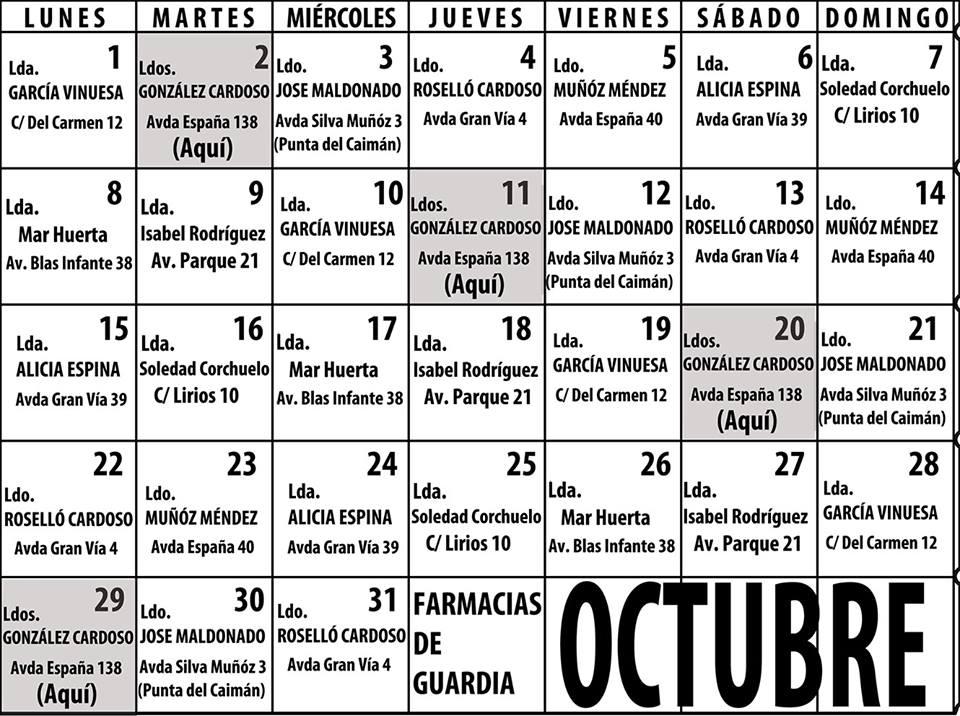 Farmacias de Guardias mes de octubre Isla Cristina