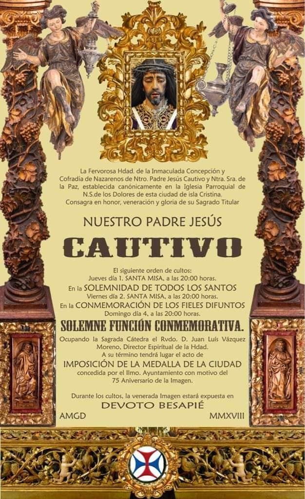 El domingo 4 de noviembre se le impondrá al Cautivo la Medalla de la Ciudad de Isla Cristina