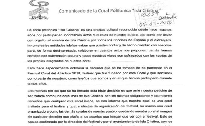Comunicado de prensa Coral Polifónica Isla Cristina