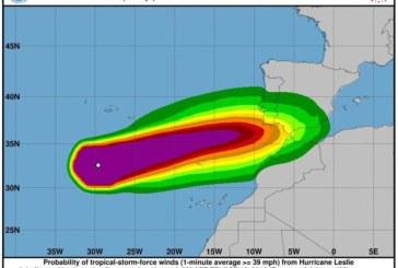 El huracán 'Leslie' podría aproximarse a Isla Cristina este fin de semana