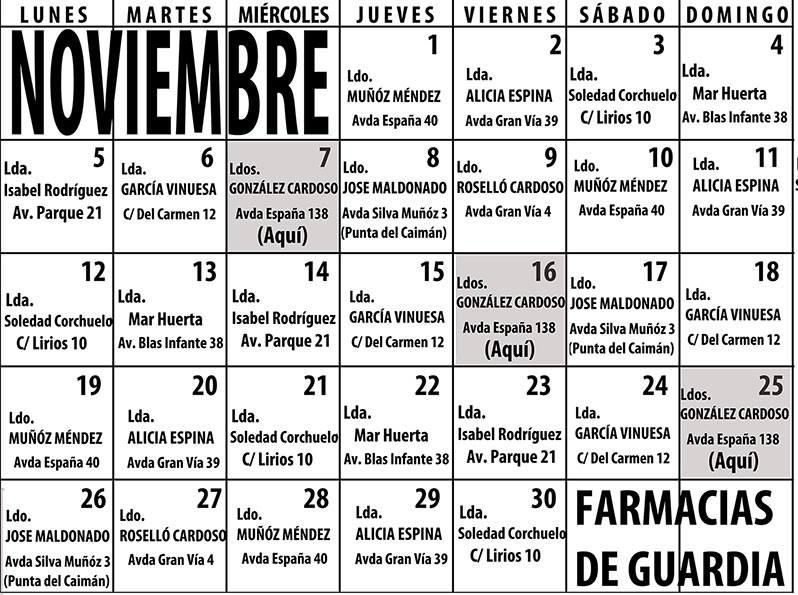 Farmacias de Guardia para el mes de Noviembre en Isla Cristina